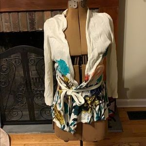 Cardigan, belted with 3/4 length sleeves.